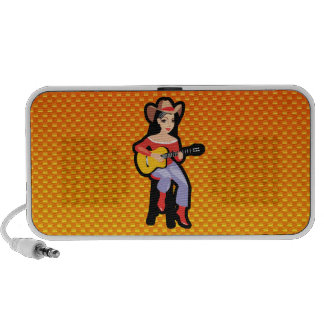 Yellow Orange Cowgirl with Guitar iPhone Speakers