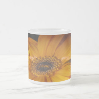 Yellow Orange Daisy Flower Frosted Glass Coffee Mug