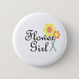 Yellow Orange Daisy Flower Girl Button