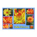 Yellow Orange Dalia Flower Gallery Wrapped Canvas