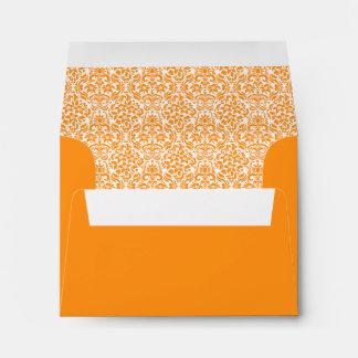 Yellow Orange Damask Custom Envelope with Address Envelopes