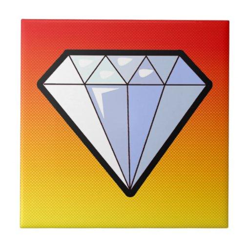Yellow Orange Diamond Small Square Tile