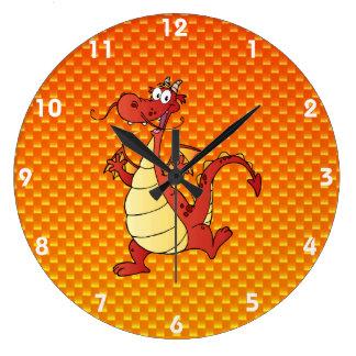 Yellow Orange Dragon Wall Clock