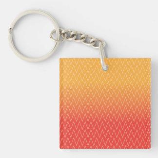 Yellow Orange Faded Gradient Chevron Pattern Keychain