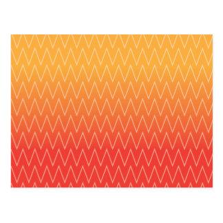 Yellow Orange Faded Gradient Chevron Pattern Postcard