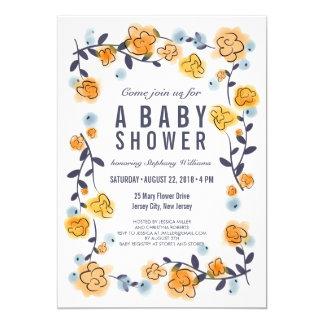Yellow Orange Floral Baby Shower Invite Girl