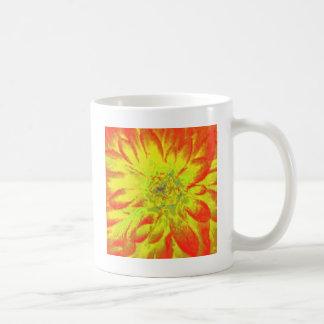 Yellow Orange Floral Dahlia Flower Pattern Coffee Mug