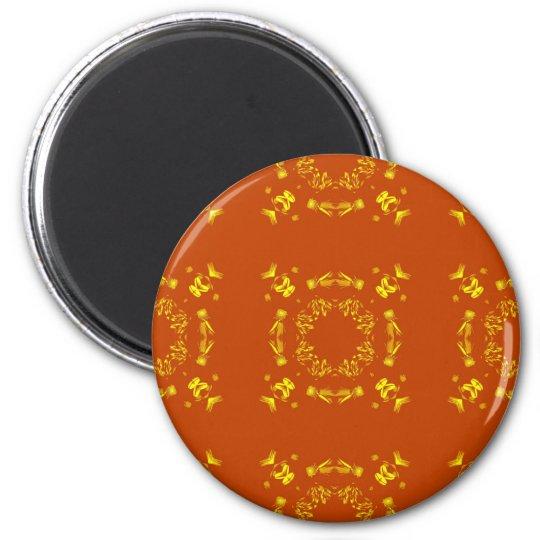 Yellow, Orange Floral Damasks Retro Pattern Magnet