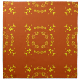 Yellow, Orange Floral Damasks Retro Pattern Napkin