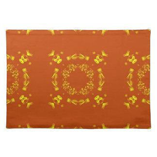 Yellow, Orange Floral Damasks Retro Pattern Cloth Place Mat