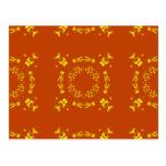 Yellow, Orange Floral Damasks Retro Pattern Post Cards