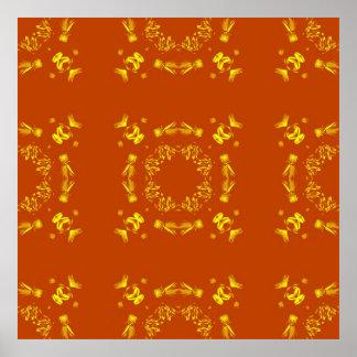 Yellow, Orange Floral Damasks Retro Pattern Poster