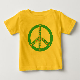 Yellow/orange floral on green peace symbol baby T-Shirt