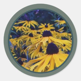 yellow orange floral seals sticker
