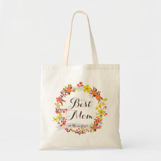 Yellow & Orange Floral Wreath Best Mom Tote Bag