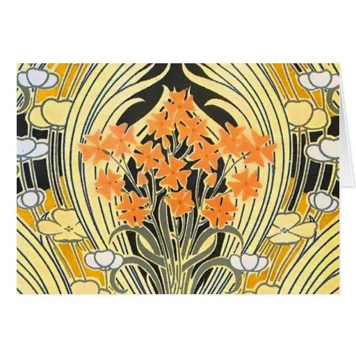 Yellow Orange Flower Art Nouveau Note Card