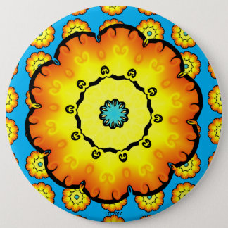 Yellow Orange Flower With Blue Background Button