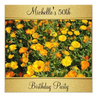 Yellow Orange Flowers Photo Gold 50th Birthday Card
