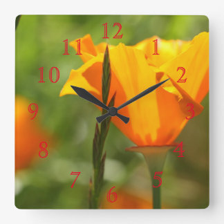 Yellow Orange Flowers Square Wall Clock