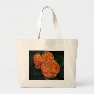 Yellow &orange frilled begonias large tote bag