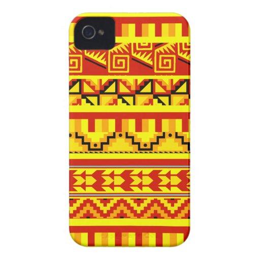 Yellow Orange Geometric Aztec Tribal Print Pattern Case-Mate iPhone 4 Cases