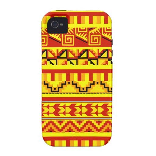 Yellow Orange Geometric Aztec Tribal Print Pattern Vibe iPhone 4 Cover