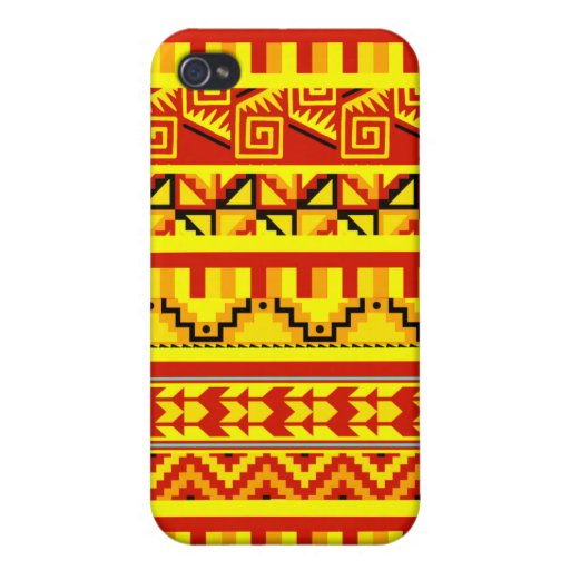 Yellow Orange Geometric Aztec Tribal Print Pattern iPhone 4 Cover