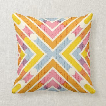 Beach Themed Yellow & Orange Geometric Decorative Accent Pillow