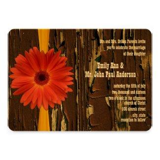 Yellow Orange Gerber Daisy Wedding Invite