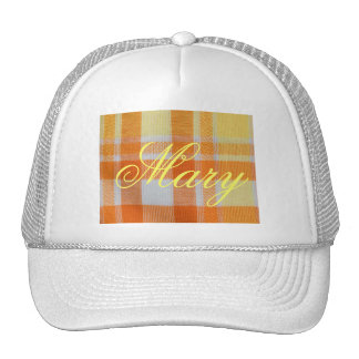 Yellow orange gingham trucker hat