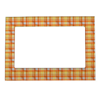 Yellow orange gingham magnetic picture frame