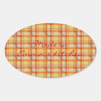 Yellow orange gingham oval sticker