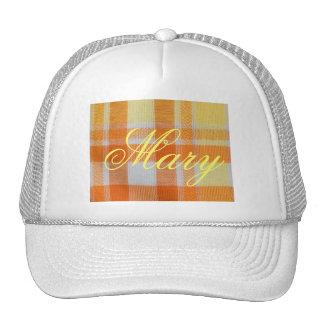 Yellow orange gingham trucker hat