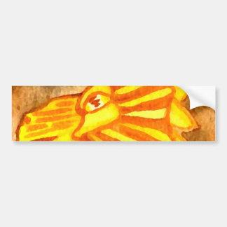 Yellow Orange Gold Autumn Lion Cat Abstract Art Bumper Sticker