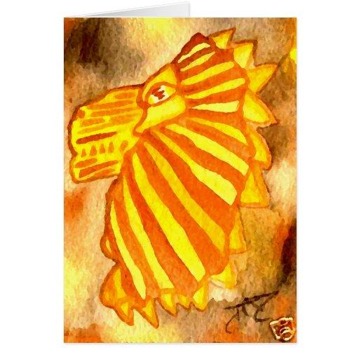 Yellow Orange Gold Autumn Lion Cat Abstract Art Cards