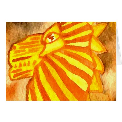 Yellow Orange Gold Autumn Lion Cat Abstract Art Card