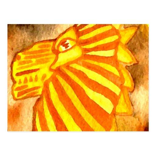 Yellow Orange Gold Autumn Lion Cat Abstract Art Postcard