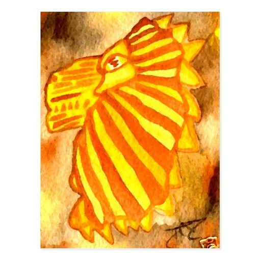 Yellow Orange Gold Autumn Lion Cat Abstract Art Post Cards