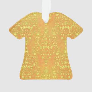 Yellow Orange Golden Damask Pattern Ornament