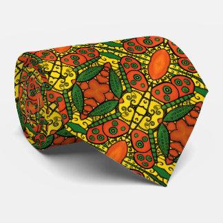 Yellow Orange Green Butterfly Pattern Tie