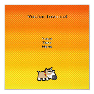 Yellow Orange Grumpy Dog 5.25x5.25 Square Paper Invitation Card