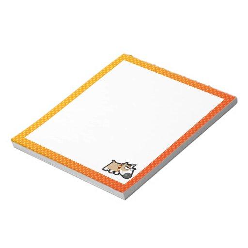 Yellow Orange Grumpy Dog Memo Note Pad
