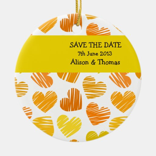 Yellow orange hearts 'Save the date' Ornament