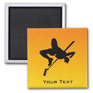 Yellow Orange High Jump 2 Inch Square Magnet