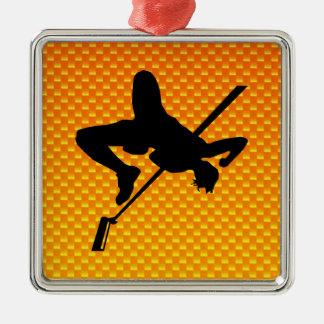 Yellow Orange High Jump Metal Ornament