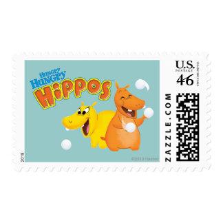 Yellow Orange Hippo Postage Stamp