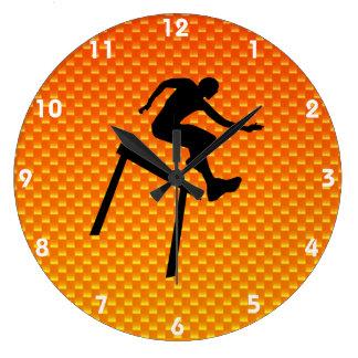 Yellow Orange Hurdler Wall Clock