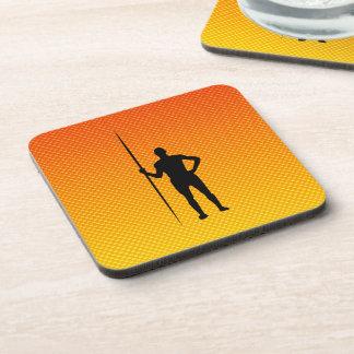 Yellow Orange Javelin Throw Beverage Coasters
