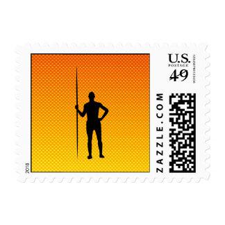 Yellow Orange Javelin Throw Postage Stamp