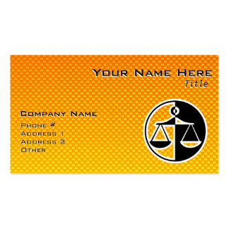 Yellow Orange Justice Scales Business Cards